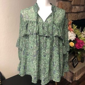 Lucky Brand green ruffle long sleeve blouse